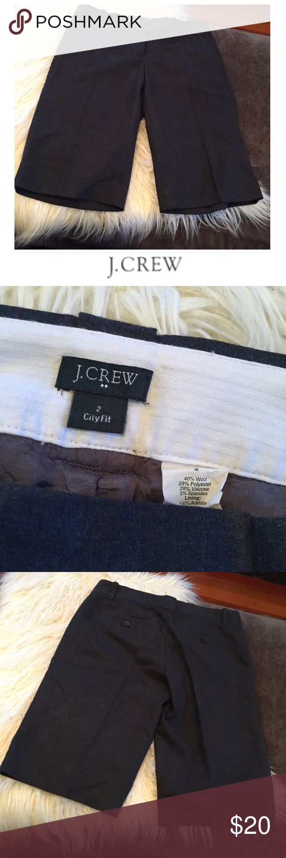 J. Crew City Fit Wool Blend Charcoal Long Shorts J. Crew City Fit Wool Blend Charcoal Long Shorts. Creased and lined. Great for winter if you wear tights. Gently worn. 8.25 inch rise. 12 inch inseam. Great condition. Feel free to make an offer or bundle & save! J. Crew Shorts