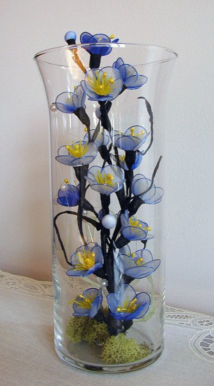 Handmade the Blue Cherry Blossom Arrangement by LiYunFlora on Etsy, $30.00