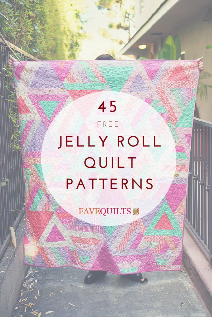 Free Jelly Roll Quilt Patterns that you'll want to save for later!                                                                                                                                                     More