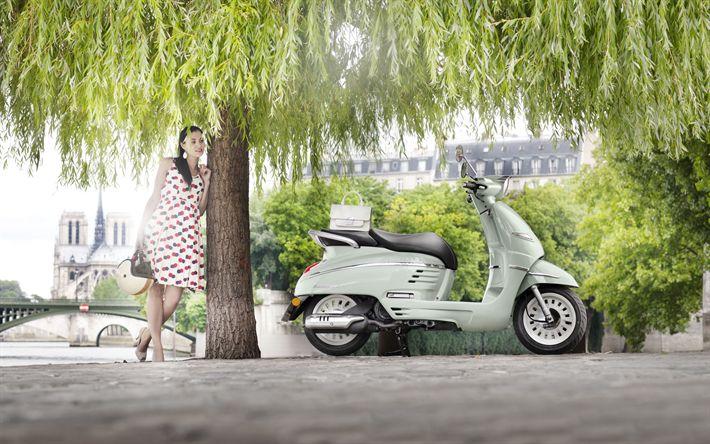 Lataa kuva Peugeot Django, 2018, uusi skootteri, ranskan moottoripyörät, Peugeot, kaupunkien liikenne, Pariisi