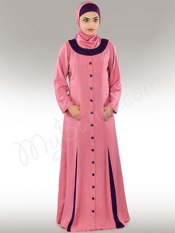 Wazeera Abaya!   Style No: Ay-241   Shopping Link :  http://www.mybatua.com/daniya-pink-abaya Available Sizes XS to 7XL (size chart: http://www.mybatua.com/size-chart/#ABAYA/JILBAB)   •Round neck, front open with button closure  •Contrast panels at bottom  •Stylish utility pockets.   •Straight sleeves.  •Matching Hijab and Band can be bought sepearately.  •Colour: Pink  •Fabric: Soft Rayon   •Care: Dry Clean