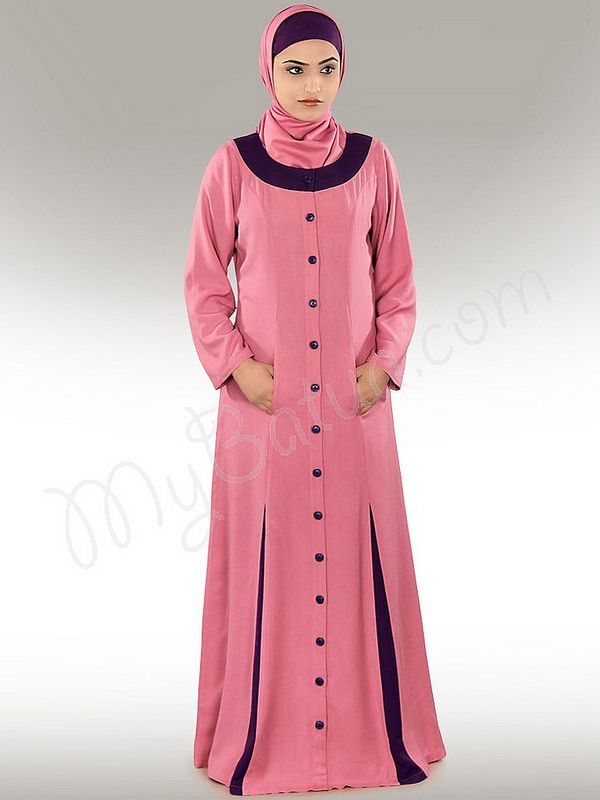 Wazeera Abaya!   Style No: Ay-241   Shopping Link :  http://www.mybatua.com/daniya-pink-abaya Available Sizes XS to 7XL (size chart: http://www.mybatua.com/size-chart/#ABAYA/JILBAB)   •	Round neck, front open with button closure  •	Contrast panels at bottom  •	Stylish utility pockets.   •	Straight sleeves.  •	Matching Hijab and Band can be bought sepearately.  •	Colour: Pink  •	Fabric: Soft Rayon   •	Care: Dry Clean