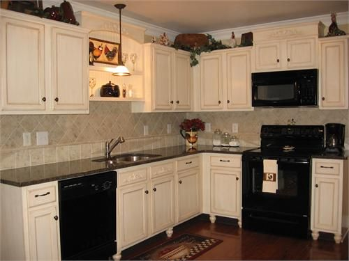 White cabinets with black appliances kitchen pinterest for Brown kitchen cabinets with black appliances