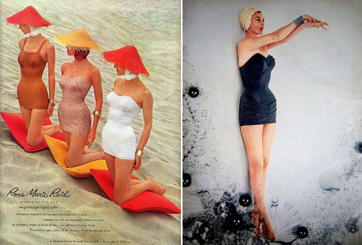 Rose Marie Reid Swimwear. (L) 1957. (R) 1953.