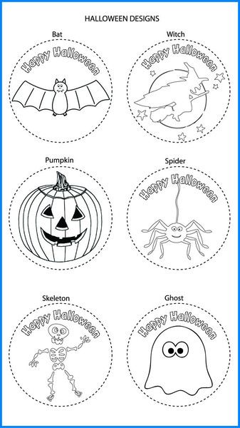 Halloween Mixed Designs - Colour In Yourself Badges