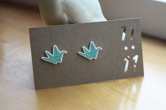 Origami Swan Earrings Origami Swan Jewelry by ElevendotdotEleven