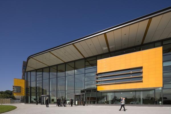 B&Q headquarters, yellow lava cladding by Pyrolave UK.