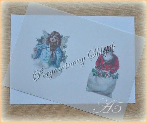 Kalka z nadrukiem - (BN) Anioł i Św. Mikołaj