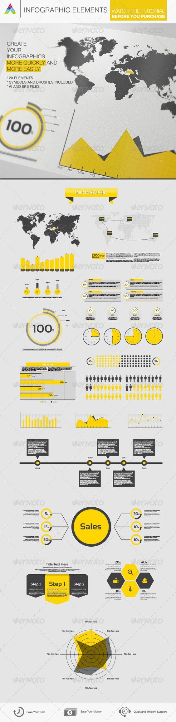 Infographic Elements Features 2 Illustrator CS files (2 .Ai CC/CS, 1 .EPS) 100% Vector Shapes 100% Editable: colors, texts, shapes etc. Brushes and symbols are included. Fonts Sansation. http://startupstacks.com/infographics/infographic-elements-14.html - free download:
