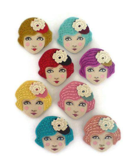 Retro Girl Felt Brooch, Fabric Brooch, Art Brooch, Wearable Art Jewelry, Mother's Day Gift. $15.00, via Etsy.