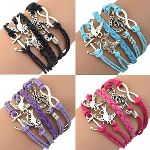 HOT! Retro Infinity Skull Music Leather Charm Bracelet //Price: $0.00 & FREE Shipping //     #shopping #beauty #clothes