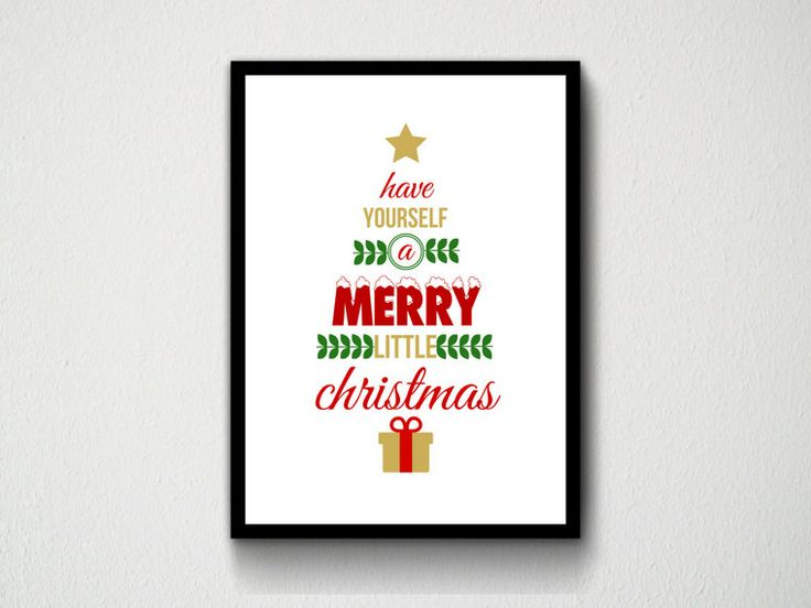 Digital Download Have Yourself A Merry Little Christmas Typography Wall Art Print, Red, Green, Gold, Customisable, Xmas, Decor, Snow, Quote by DesignsByMoniqueAU on Etsy