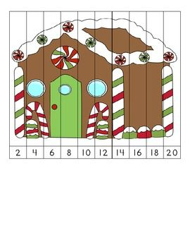Here's a set of 3 different Christmas themed number order puzzles for skip counting by 2 and 5.