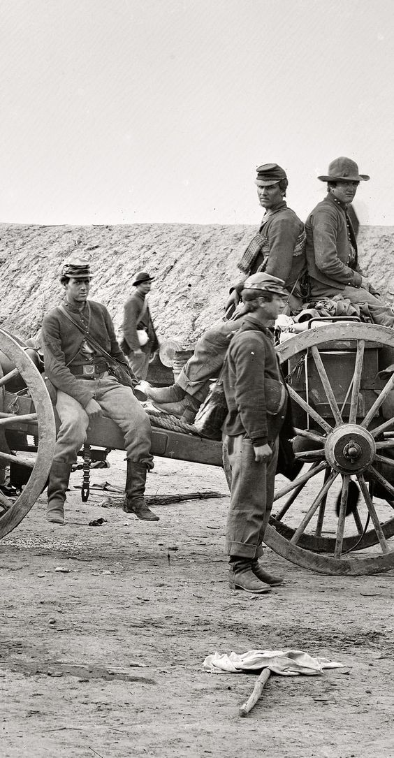 """""""Petersburg, Virginia. Federal Soldiers Removing Artillery From Confederate Fortifications April 1865"""" The Siege of Petersburg: The Longest Military Event of the Civil War Nine and a half months,..."""