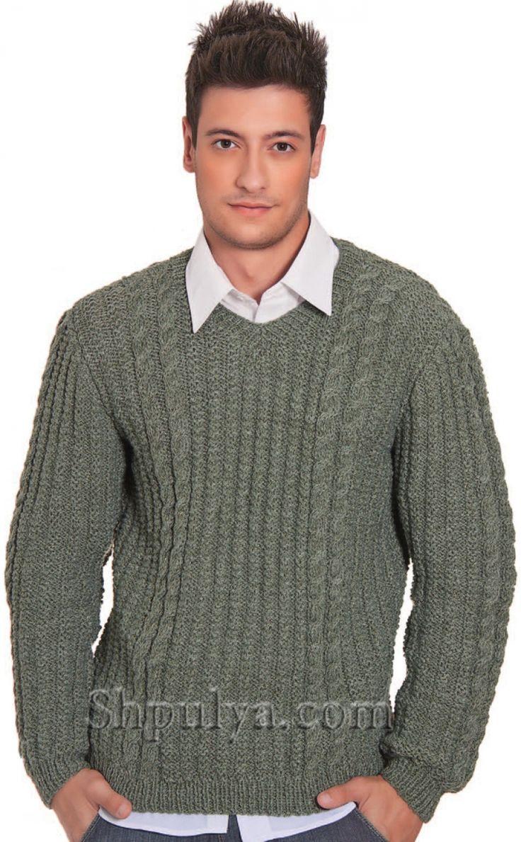 Серый мужской пуловер с косами