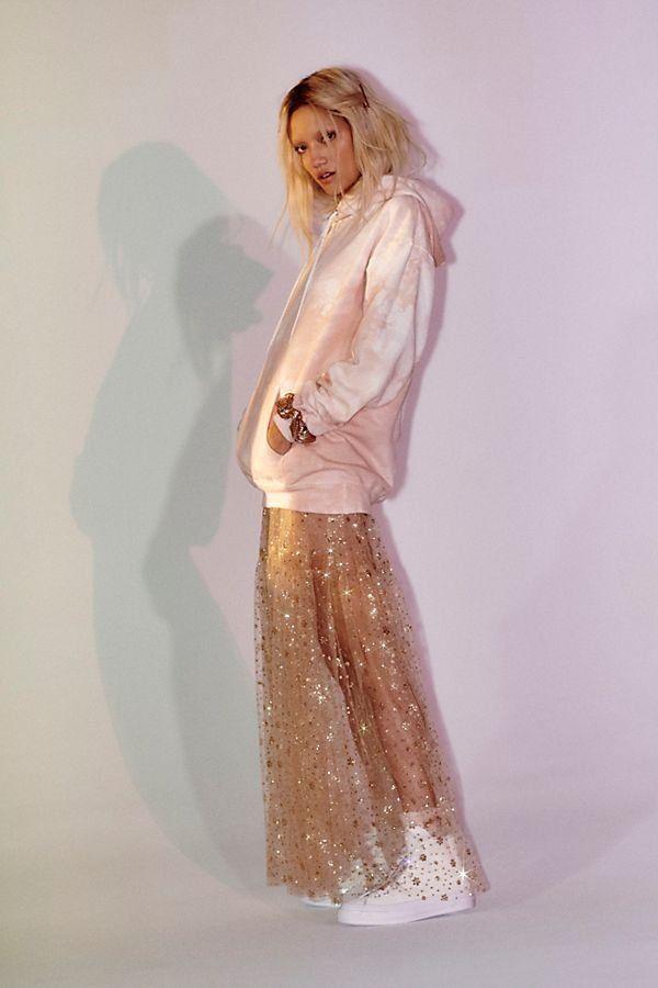 81e85f50fe Estella Glitter Maxi Slip Dress - Sheer Gold Sparkly Maxi Skirt - Gold Maxi  Skirts - Sheer Skirts - Sparkly Skirts - New Year's Eve Outfits - NYE Skirts