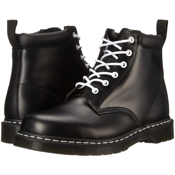 Dr. Martens 939 (Black Smooth) Boots ($75) ❤ liked on Polyvore featuring shoes, boots, ankle boots, black, slip resistant boots, black bootie, short boots, black leather bootie and leather ankle boots