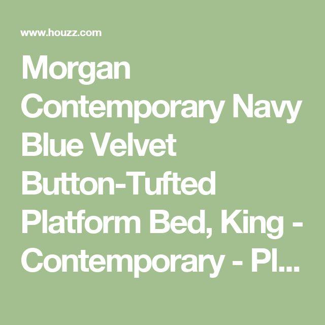 Morgan Contemporary Navy Blue Velvet Button-Tufted Platform Bed, King - Contemporary - Platform Beds - by Baxton Studio