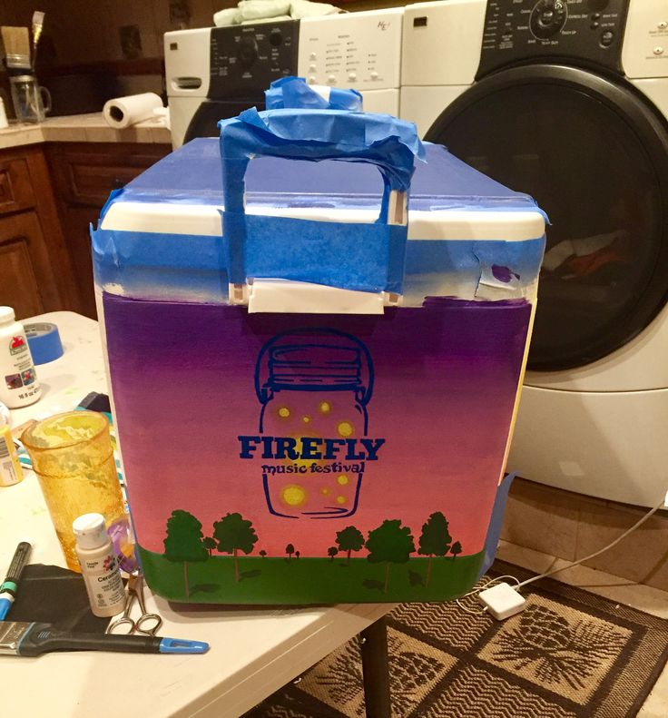 Music festival fraternity painted cooler | to buy a personalized cooler like this one visit https://www.etsy.com/listing/462684360/fraternity-cooler-custom-painted-cooler