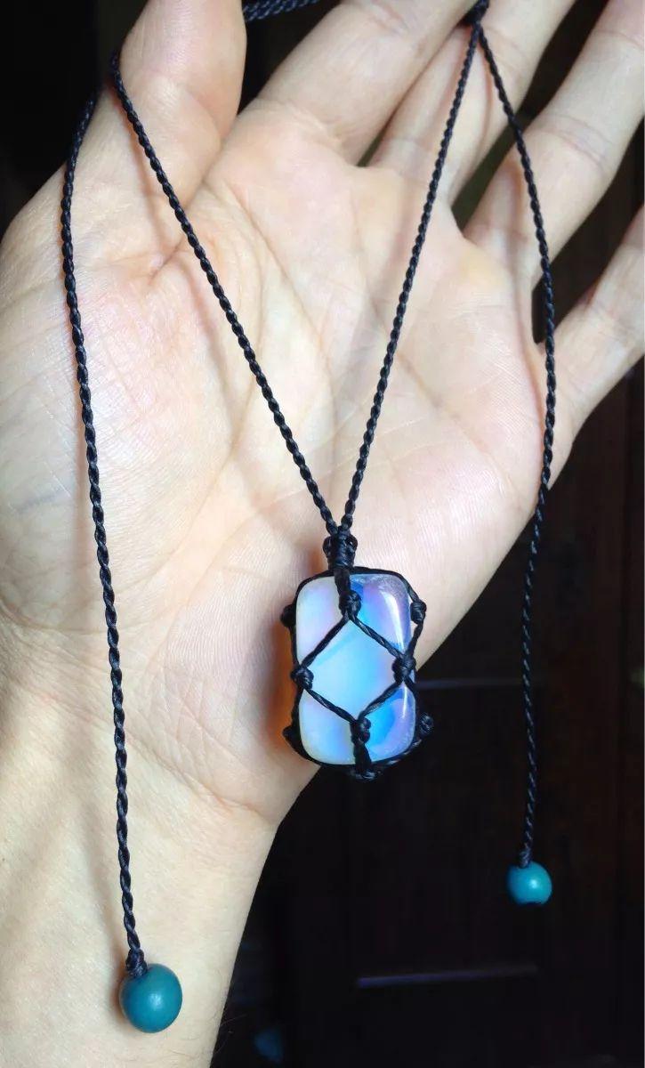 Colar Hippie Com Pedra Da Lua Regulável Artesanato - R$ 17,90 em Mercado Livre