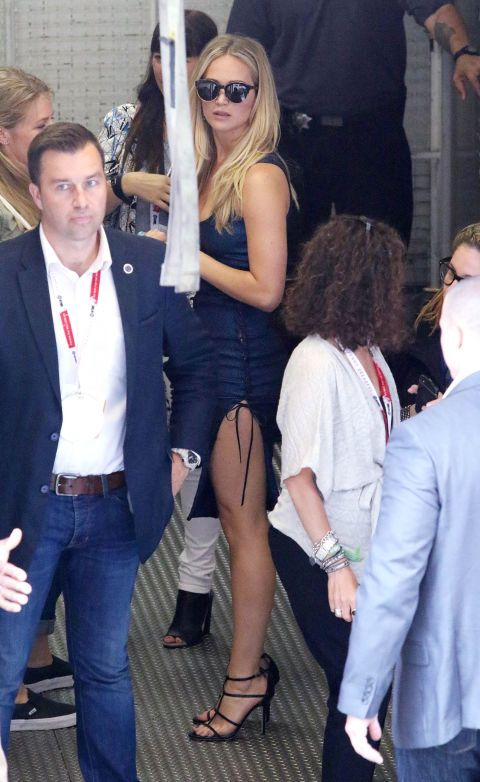 In a skintight, high-slit blue Prabal Gurung dress at San Diego's Comic Con.