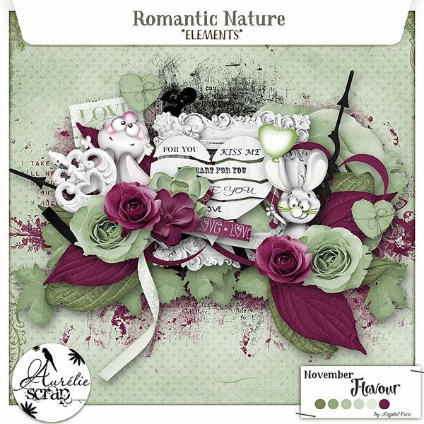 "Digital Scrap - Elements ""Romantic Nature"" by Aurélie Scrap. The scheme color tempted me to work on the romanticism, love while keeping a small natural side, where from the title: Romantic Nature. I propose you this pack of elements which can only embellish your most beautiful photos. Here is my November Flavour 2016."
