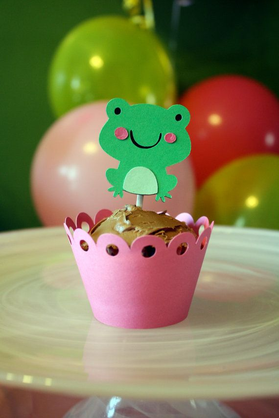 Froggy Frog Party Pack  Small by Foolishworkerbee on Etsy, $15.50--another cute cupcake idea!