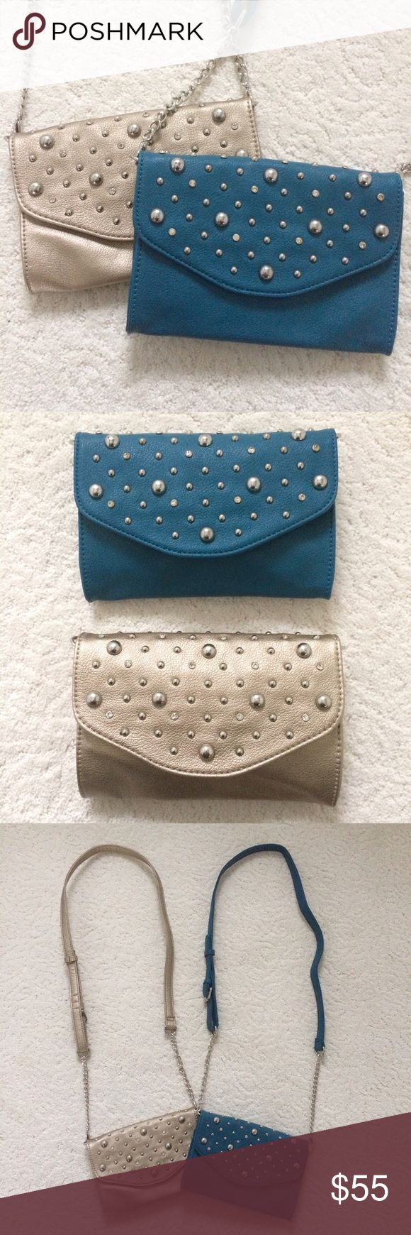 2 NWOT Clutch/Crossbody 2 Grace Adele Britt Clutches. Never used. I purchased the adjustable crossbody chain straps to go with them. They're big enough for phone, ID, lipstick, keys, and $. Beautifully made. Colors are Ocean and Metallic. Retail $40 each, straps $15 each. Grace Adele Bags Clutches & Wristlets