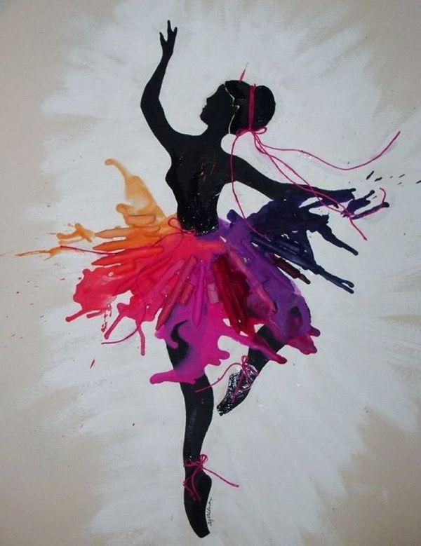 Dancer Melted Crayon Art.