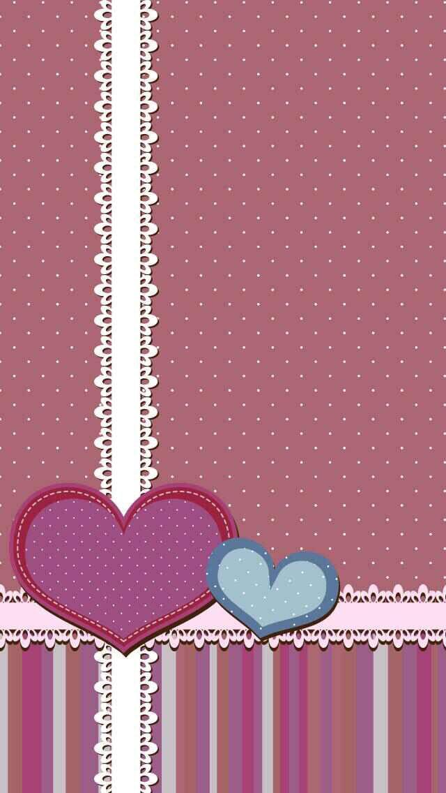 Polka Dots Hearts & Lace Wallpaper.