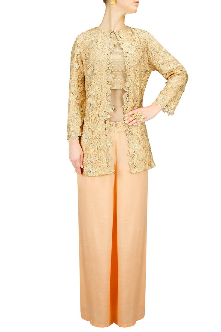 Golden apricot lace suit BY OHAILA KHAN. Shop now at: www.perniaspopups... #perniaspopupshop #amazing #beautiful #clothes #style #designer #fashion #stunning #trend #new