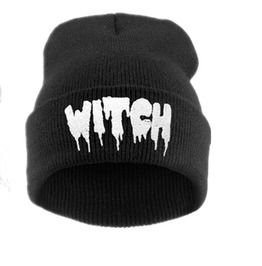 Winter Autumn Knit Cap Witch Pattern Hip Pop Beanies Hat Black