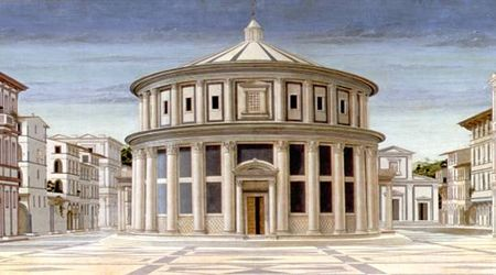 "Leon Battista Alberti (1404-1472) was een Italiaanse schilder, dichter, taalkundige, filosoof,cryptograaf, musicus en architect uit de Italiaanse renaissance.  ""Città ideale, Urbino, Galleria Nazionale delle Marche"""