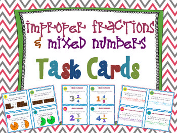 Improper Fractions & Mixed Numbers Task Cards { Common Core } 44 Improper Fraction & Mixed Numbers Task Cards. The cards use a variety of different ways to challenge and engage your students in practicing converting fractions.$
