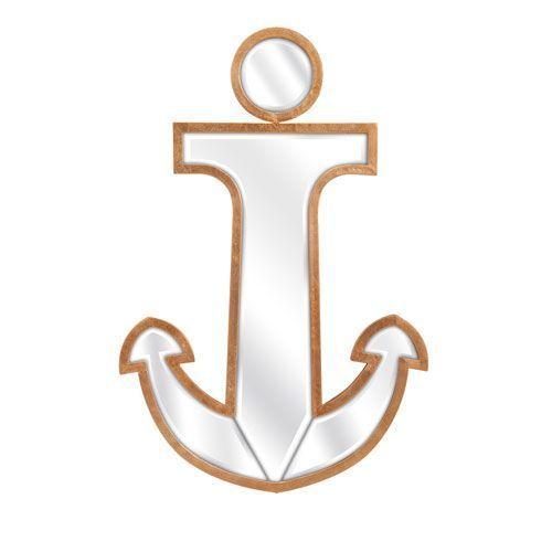 Ahoy Gold Anchor Wall Mirror
