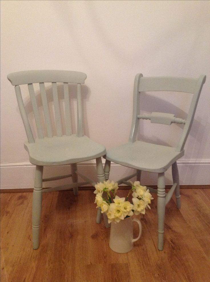 Chairs painted by LOTTIES LOFT in the lovely Farrow and Ball MIZZLE
