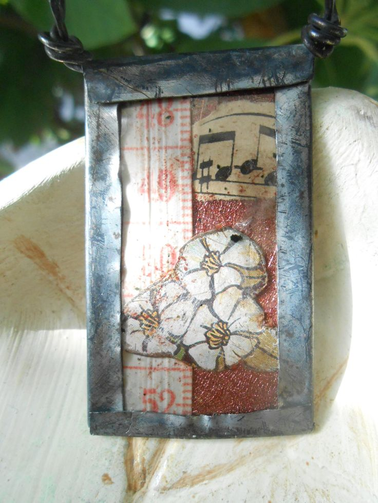 L'Ideal~ Salvaged tin pendant, music and flowers collage, RosinTrails handmade jewelry by RosinTrails on Etsy
