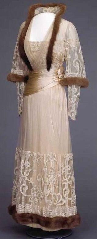 Mink-Trimmed Evening Dress