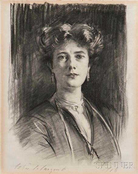 Artwork by John Singer Sargent, Lady Poole (Michelle Peveril Le Mesurier), Made of Charcoal on paper