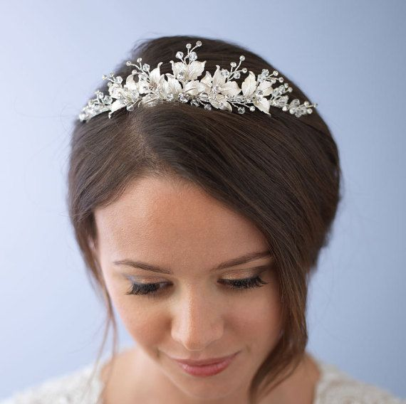 Floral Wedding Tiara, Bridal Leaf Crown, Silver Wedding Crown, Floral Bridal Tiara, Flower Crown, Silver Leaf Wedding Tiara ~TI-3283