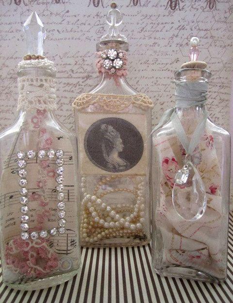 Shabby Chic Vintage Treasure Bottles Set of 3 by AnneMariePaperie