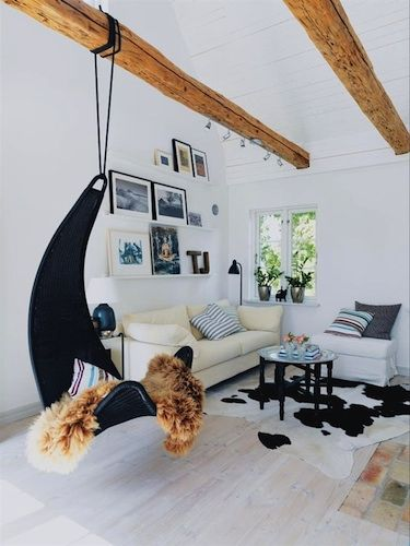 Striking Swing/chair Suspended From Beam In A Summer House In Iceland. Via  Blissfulb Images