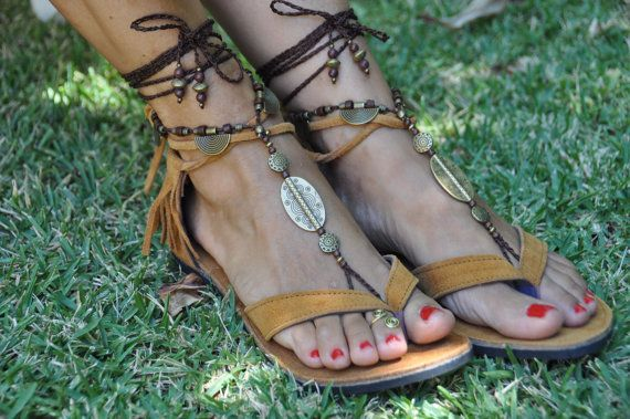 Camel Suede Leather Sandals Fringe Hippie by PanoParaTanto