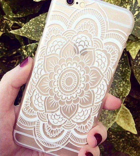 IPhone blanc le henné Swirl Floral Print voir par claire 6 6 Plus Hipster Phone Case
