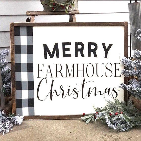 Buffalo Check Farmhouse Christmas, 20×16, farmhouse decor, rustic sign, wood sign, farmhouse sign, C