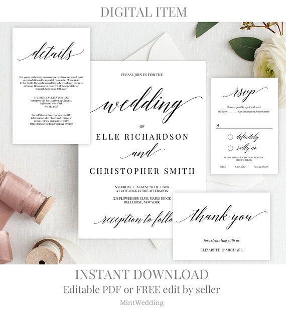 Rustic Wedding Invitation Set Template Quick Service 24h