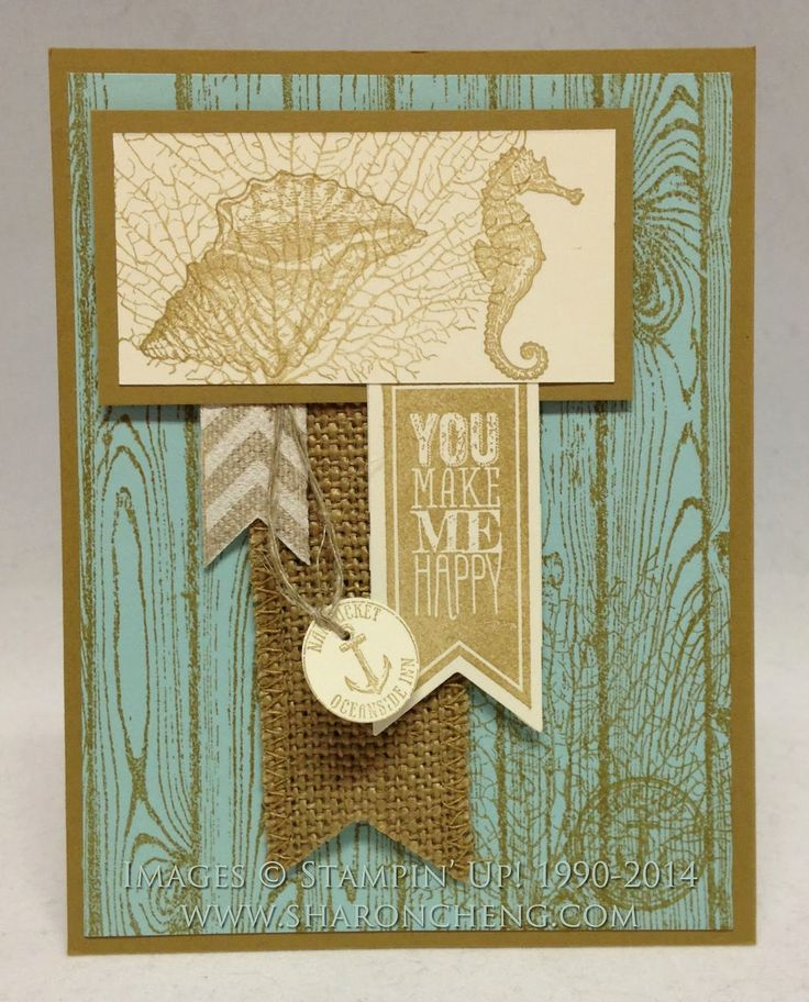 #papercraft #cards SHARING CREATIVITY and COMPANY: Stampin' Up! By the Tide, hardwood, Perfect Pennatns, Burlap Ribbon Cards