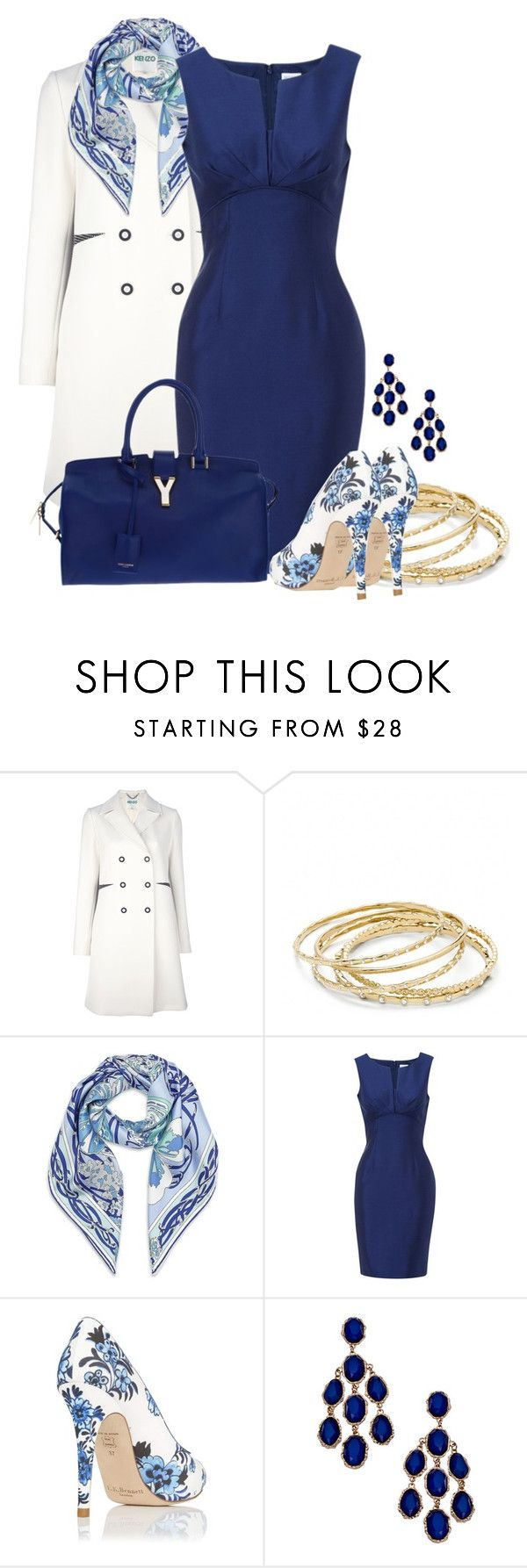 Love the dress by amo-iste on Polyvore featuring Hobbs, Kenzo, L.K.Bennett, Yves Saint Laurent, Coach, Blu Bijoux and Emilio Pucci