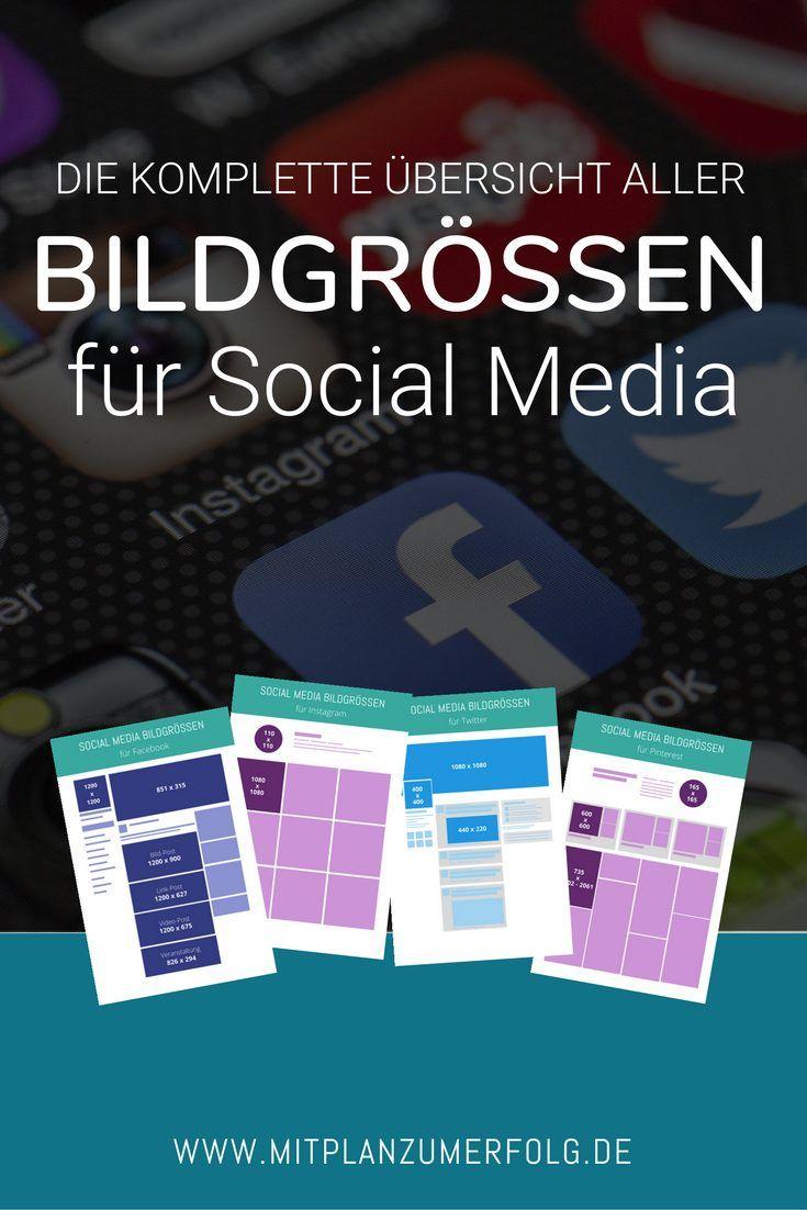 Klicke hier für die komplette Übersicht aller Bildgrößen für Social Media. Heute habe ich Dir übersichtliche Bilder erstellt, die alle Maße für Posts auf Facebook, Pinterest, Instagram und Twitter enthalten. #bildgrößen #socialmedia
