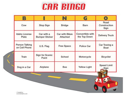 Car Bingo (Printable Activity for Kids) Several when you click on the download for many options Free DIY printable for traveling with kids